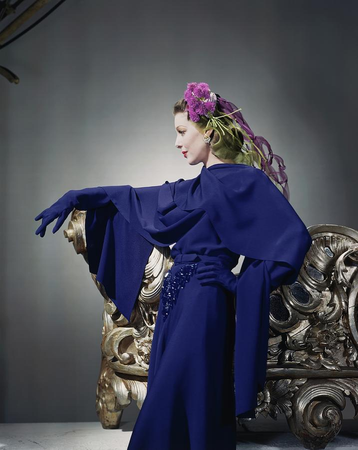 Loretta Young In Blue Dress Photograph by Horst P. Horst