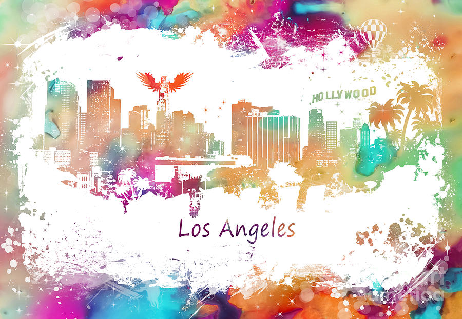 Los Angeles Digital Art - Los Angeles California Skyline colored by Justyna Jaszke JBJart