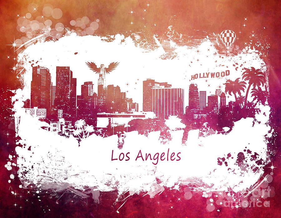 Los Angeles Digital Art - Los Angeles California skyline by Justyna Jaszke JBJart