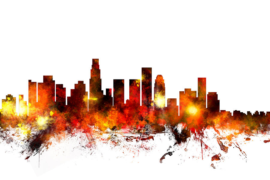 Los Angeles California Skyline Digital Art By Michael Tompsett