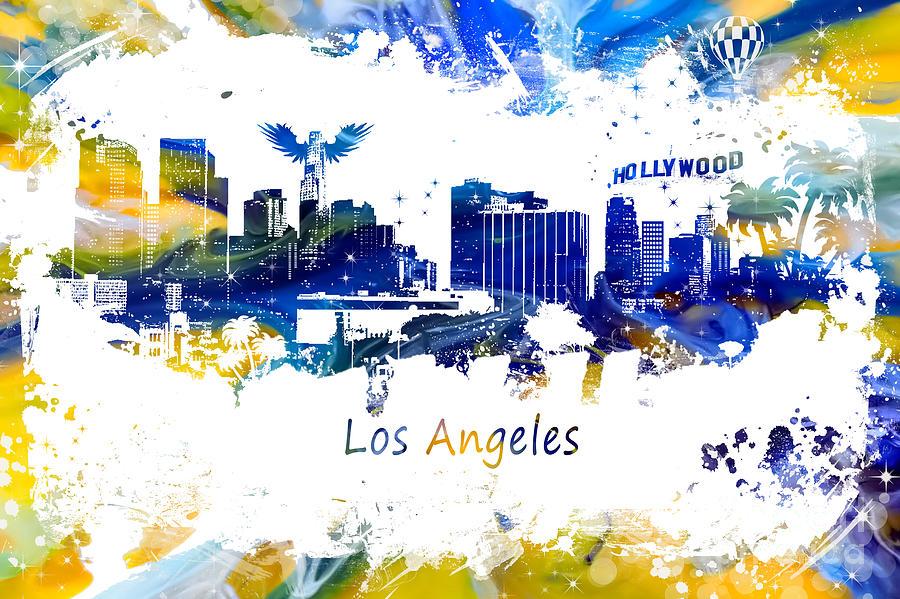 Los Angeles Digital Art - Los Angeles California Skyline Yellow Blue by Justyna JBJart