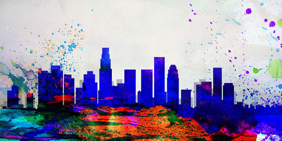 Los angeles city skyline painting by naxart studio for Painting in los angeles