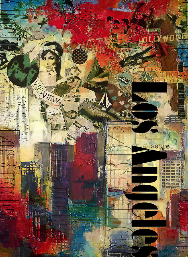 Los Angeles Painting - Los Angeles Collage  by Corporate Art Task Force
