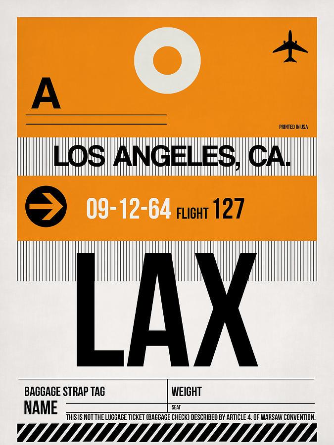 Los Angeles Digital Art - Los Angeles Luggage Poster 2 by Naxart Studio