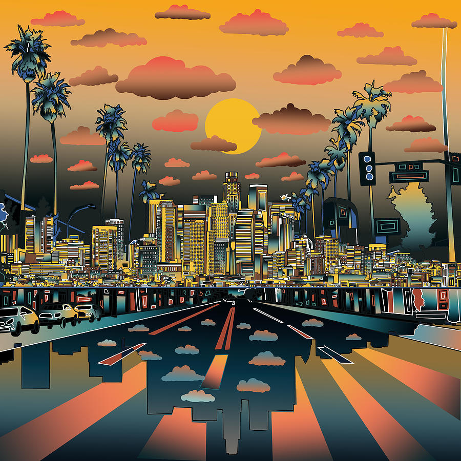 los angeles skyline abstract 2 painting by bekim art