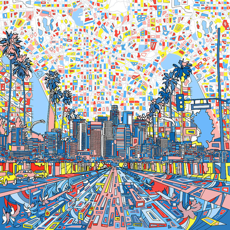 los angeles skyline abstract 3 painting by bekim art
