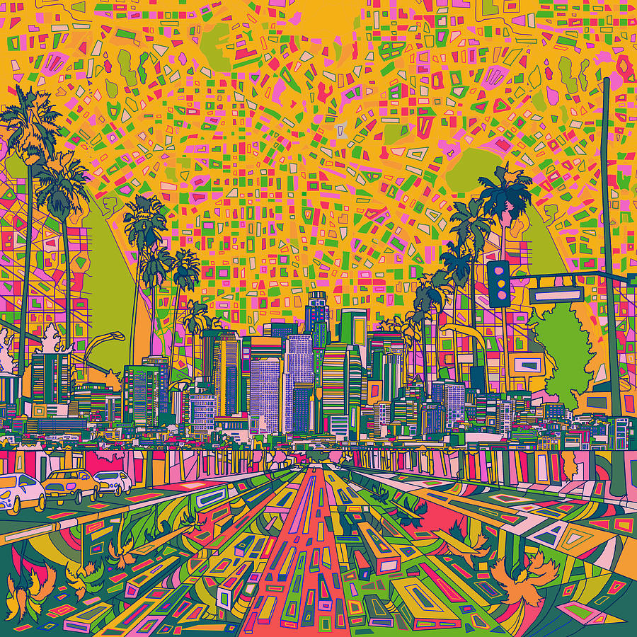 Los angeles skyline abstract painting by bekim art for Painting in los angeles