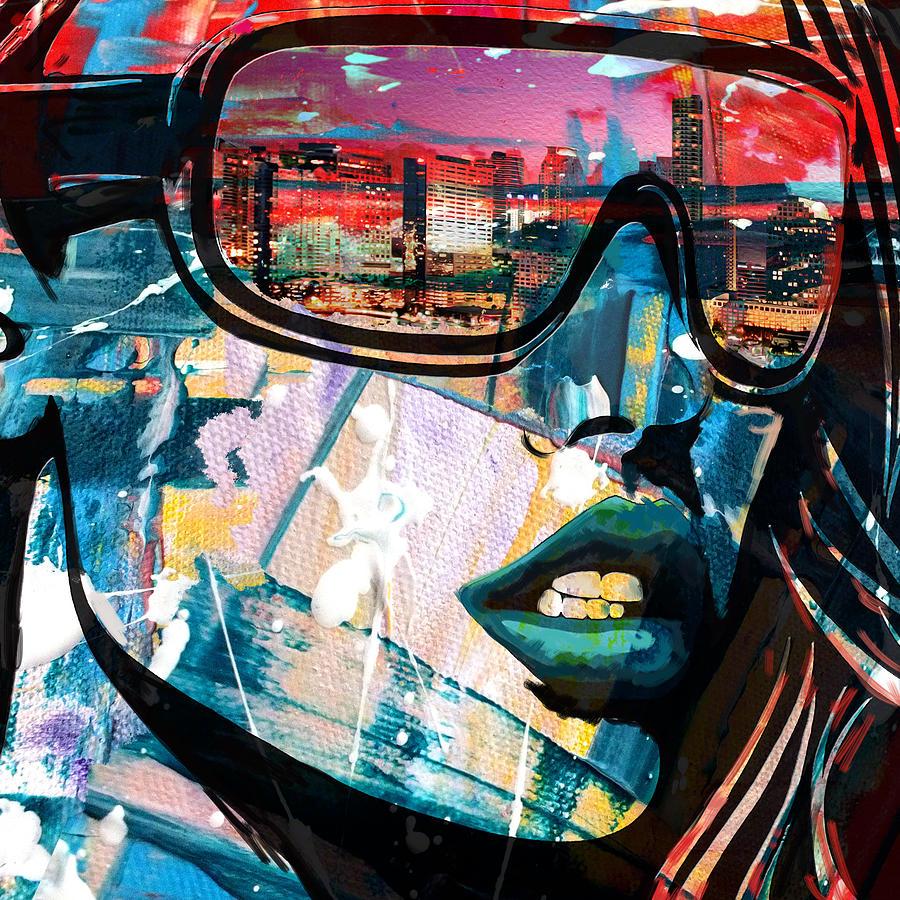Los Angeles Painting - Los Angeles Skyline by Corporate Art Task Force