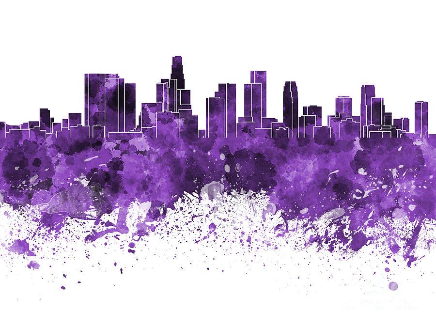 Los Angeles Skyline In Purple Watercolor On White