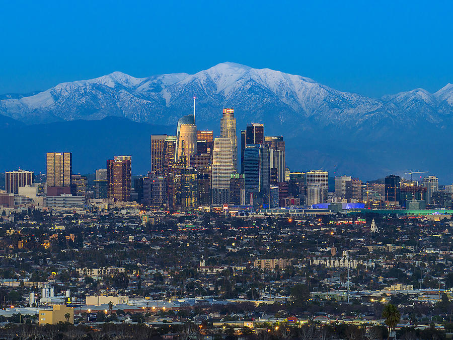 Los Angeles Skyline With Snow Capped Mountains Photograph by Carl Larson Photography