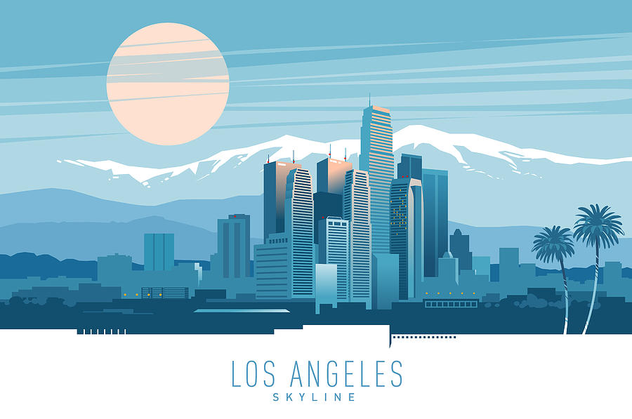 Los Angeles skyline. Drawing by Zbruch