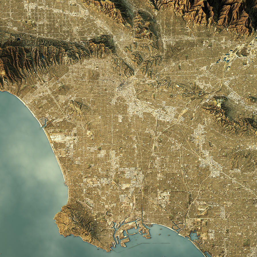 Los Angeles Topographic Map Natural Color Top View By Frankramspott