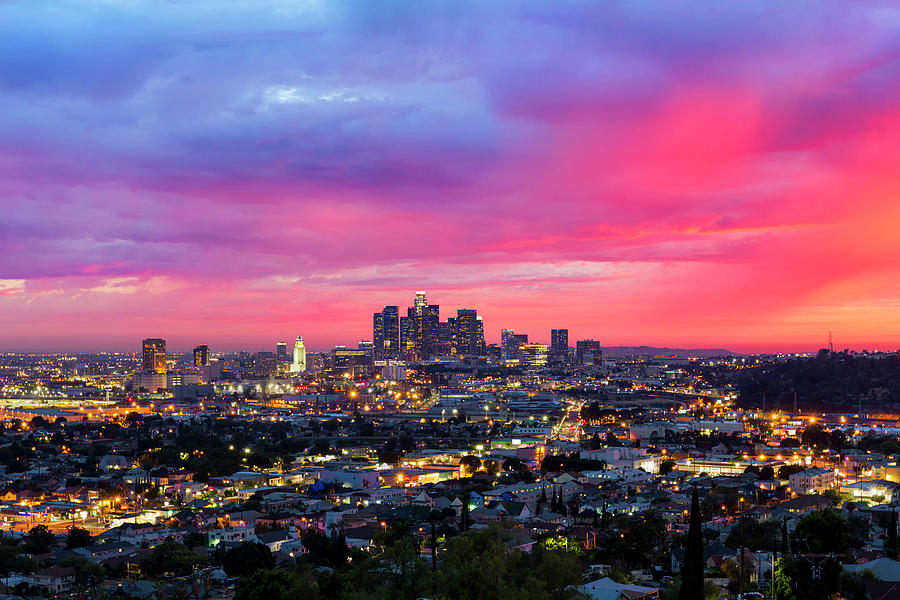 Los Angeles Under A Dramatic Sunset Photograph by Chrisp0