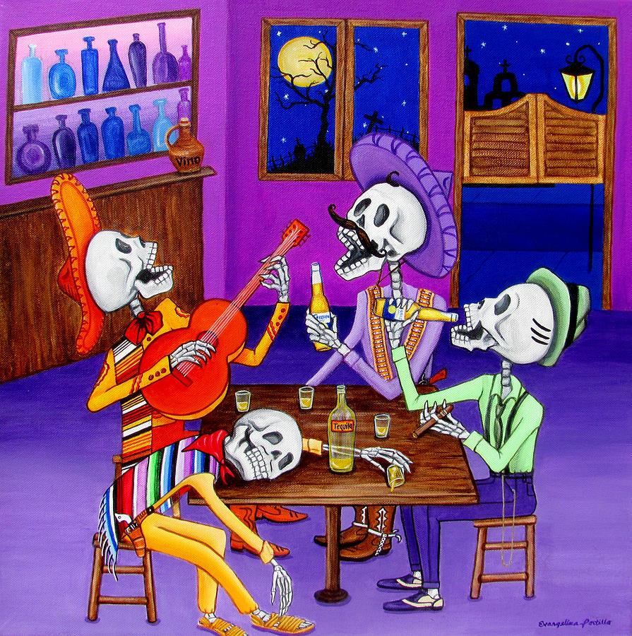 Dia De Los Muertos Painting - Los Compadres by Evangelina Portillo