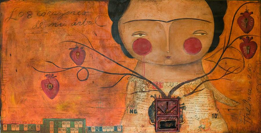 Portrait Painting - Los Corazones De Mi Arbol by Thelma Lugo