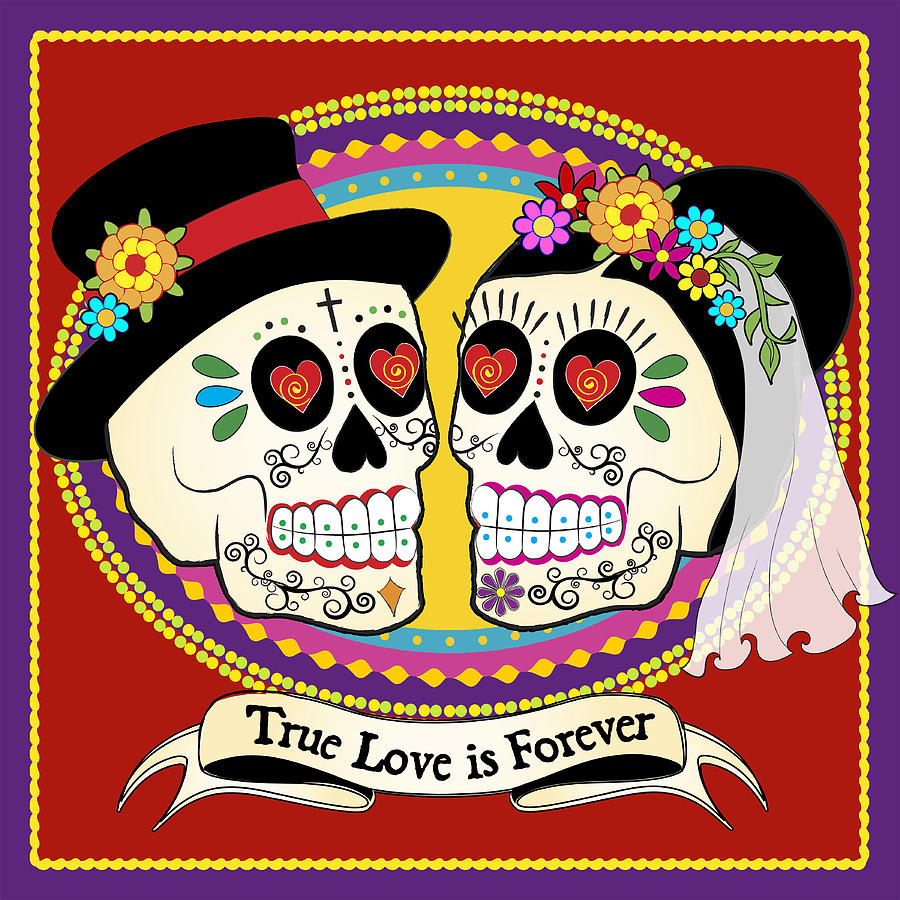 los novios sugar skulls digital art by tammy wetzel