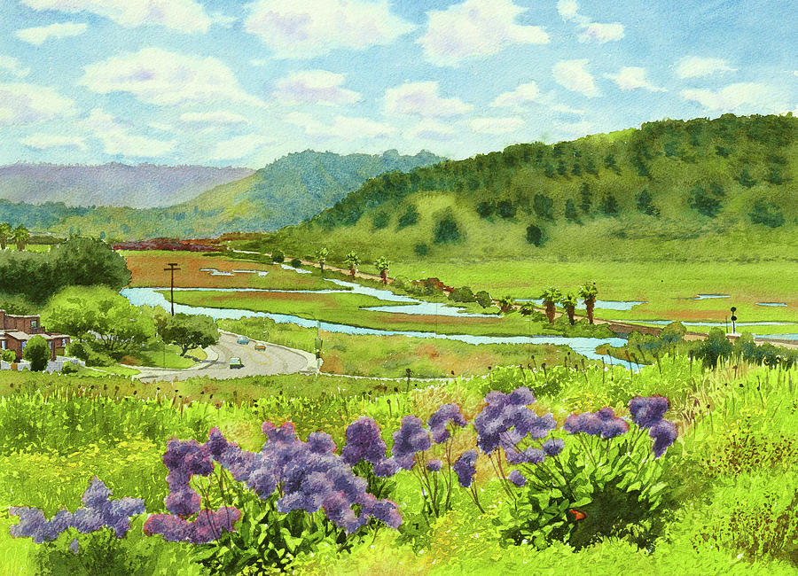 Landscape Painting - Los Penasquitos Looking East by Mary Helmreich