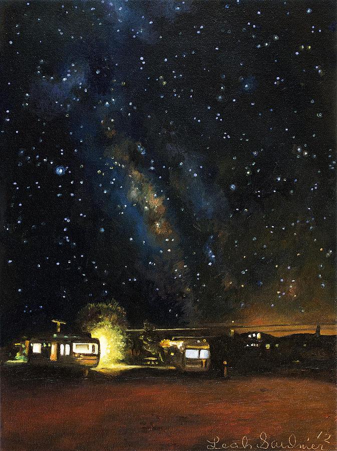 Trailer Painting - Los Rancheros Rv Park by Leah Saulnier The Painting Maniac