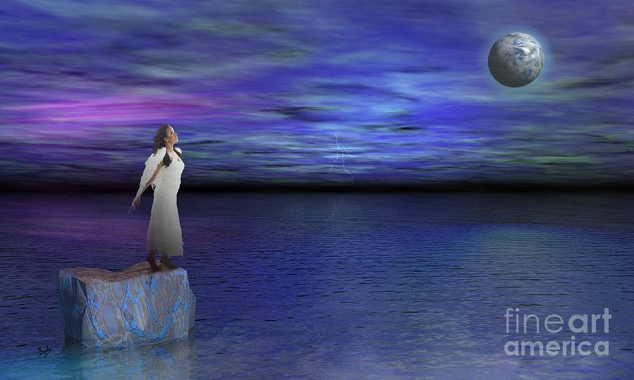 Surreal Digital Art - Lost Angel by Bedros Awak