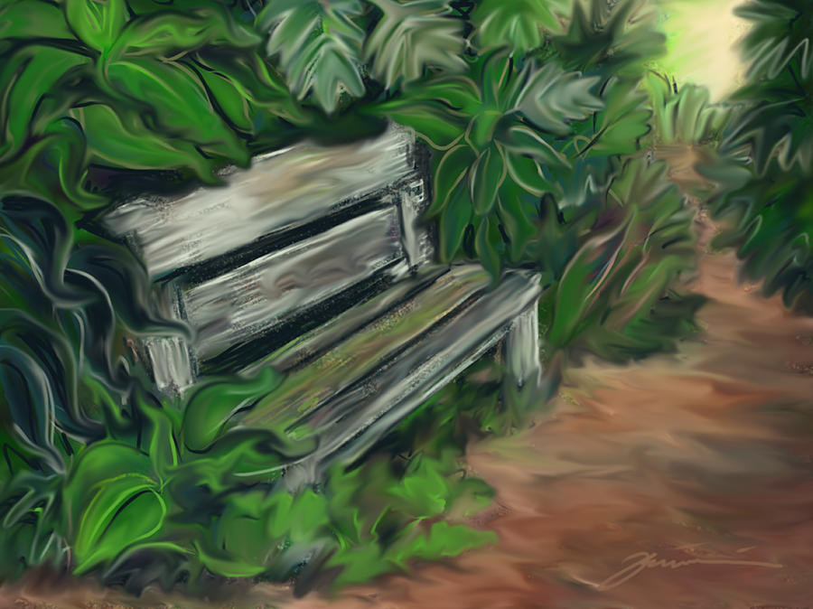 Bench Painting - Lost Bench by Jean Pacheco Ravinski
