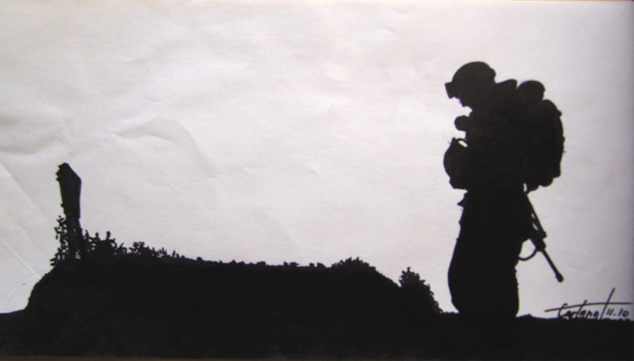 Silhouette Framed Drawing - Lost by David Cohen