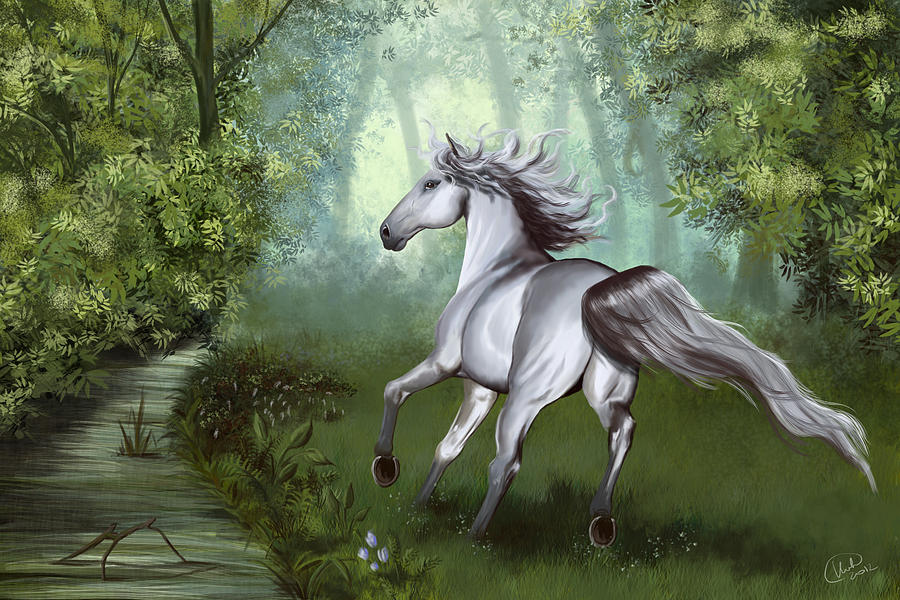 Horse Digital Art - Lost In The Forest by Kate Black
