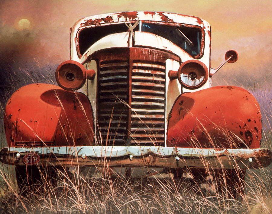 Vintage Car Painting - Lost Power Restored by Blue Sky