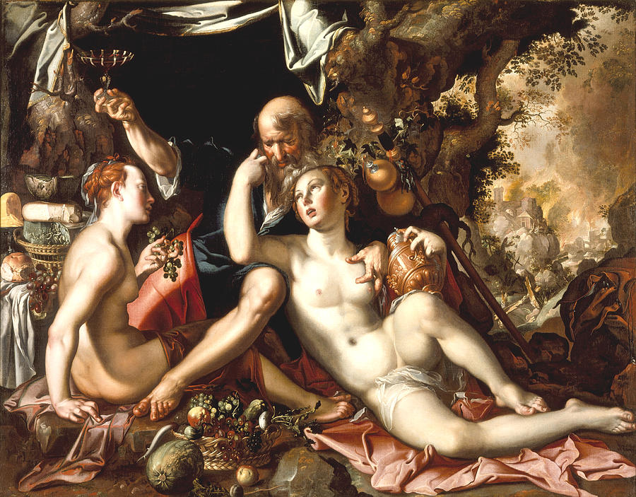 Joachim Antonisz Wtewael Digital Art - Lot And His Daughters by Joachim Antonisz Wtewael