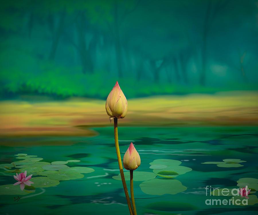 Bud Digital Art - Lotus Buds by Bedros Awak