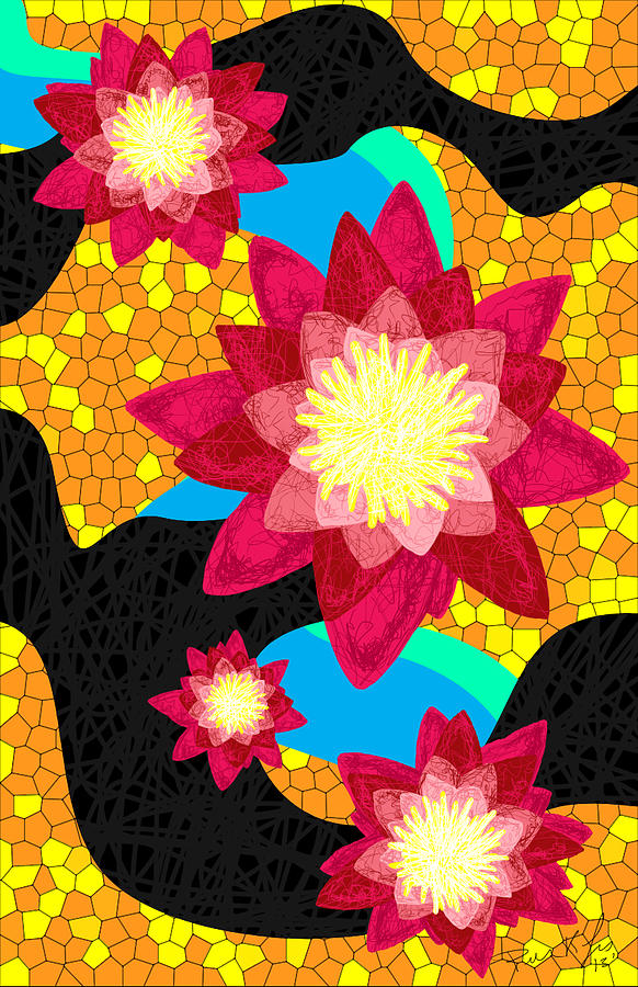 Lotus Flower Bombs Drawing - Lotus Flower Bombs In Magenta by Kenal Louis