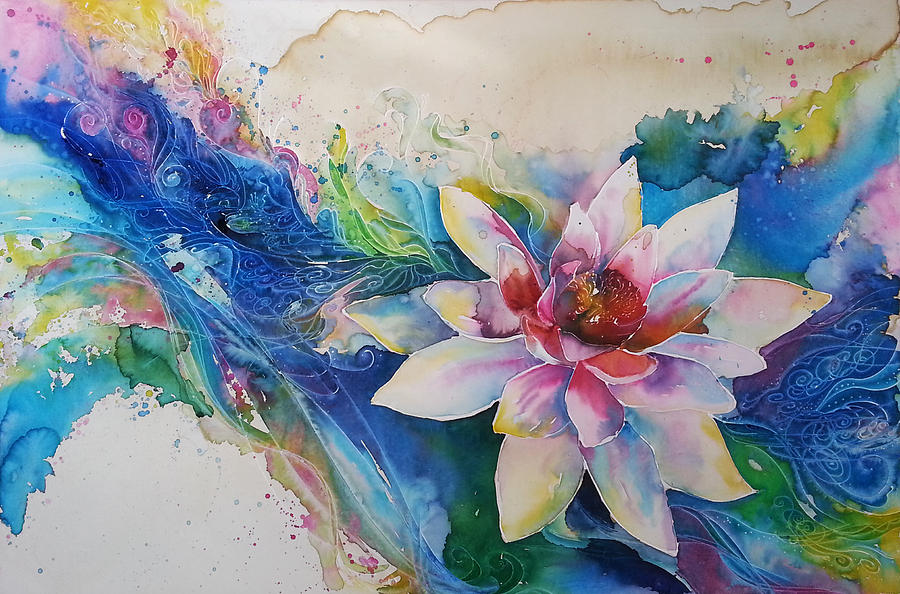 Lotus Flower Painting by Christy Freeman