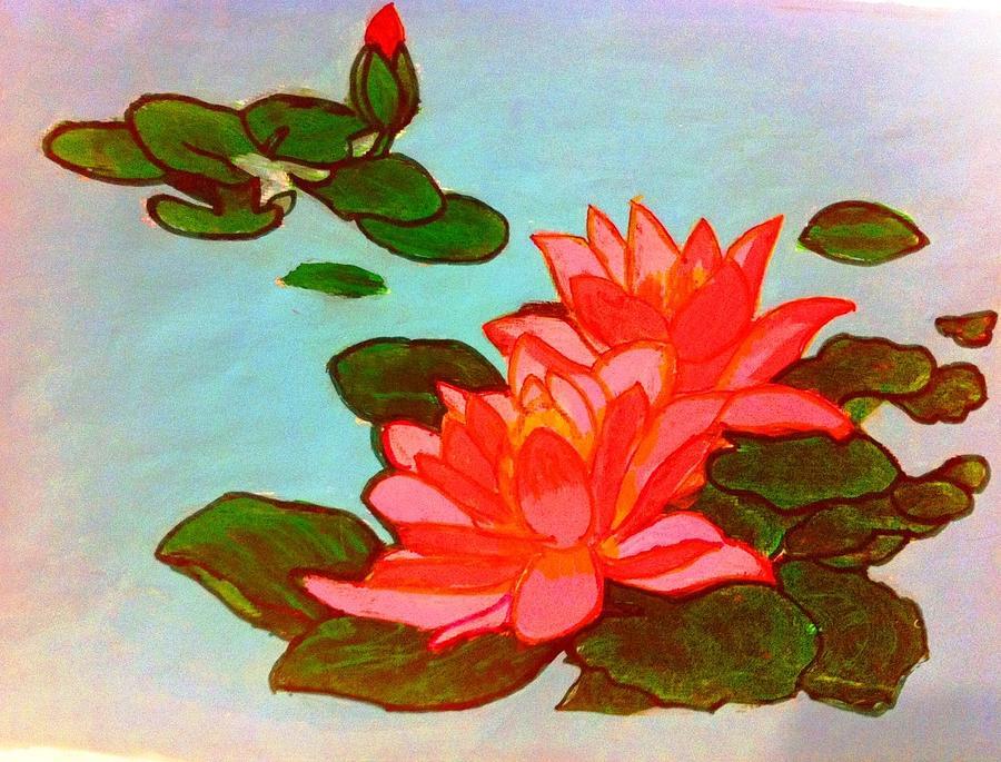 Lotus Flower Painting By Madhuri Krishna
