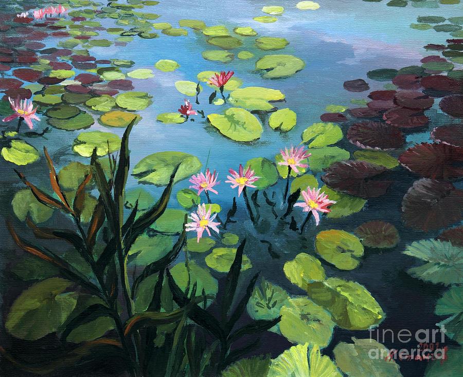 Flower Painting - Lotus Flowers  by Kiril Stanchev