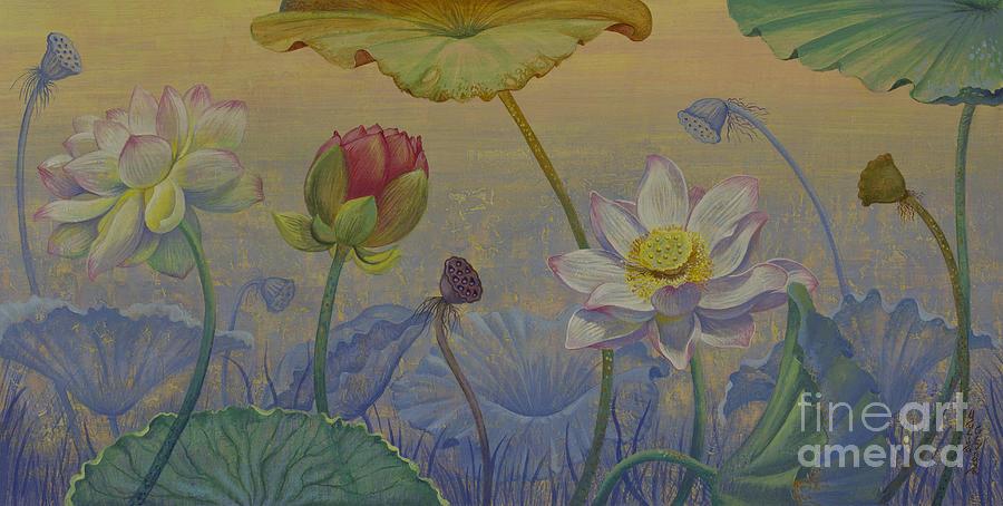 Lotus Painting - Lotus path by Yuliya Glavnaya