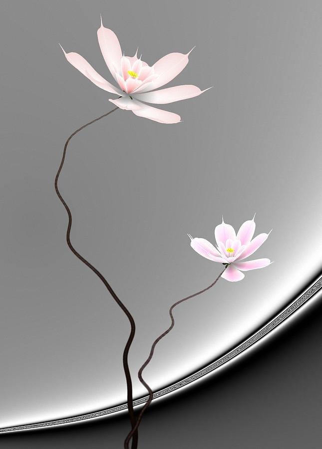 Lotus Digital Art - Lotus Twins by GuoJun Pan
