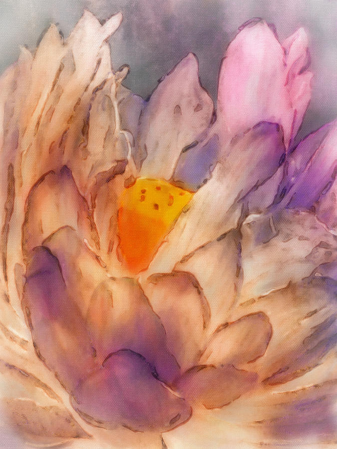 Painting Digital Art - Lotus Watercolor by Jill Balsam