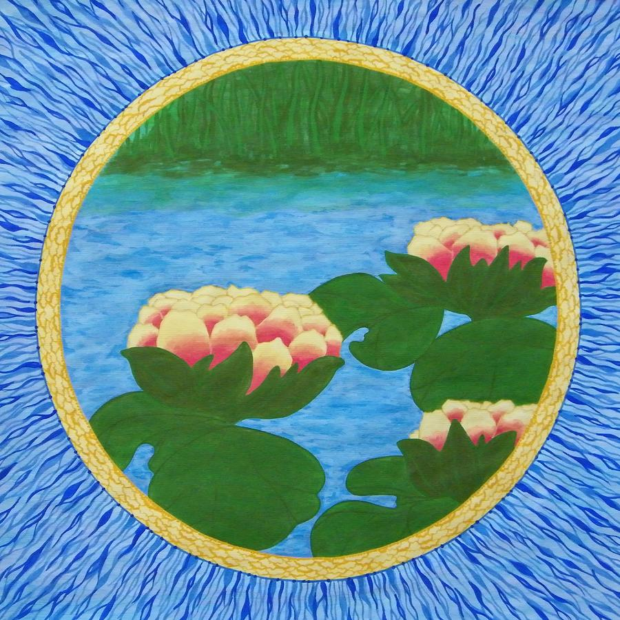 Lotuses Mandala Painting by Vlatka Kelc