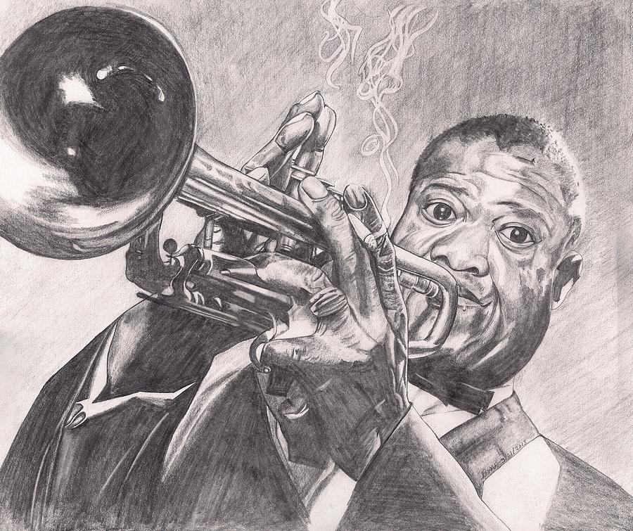 Louie Armstrong Drawing - Louie Armstrong by Beverly Marshall