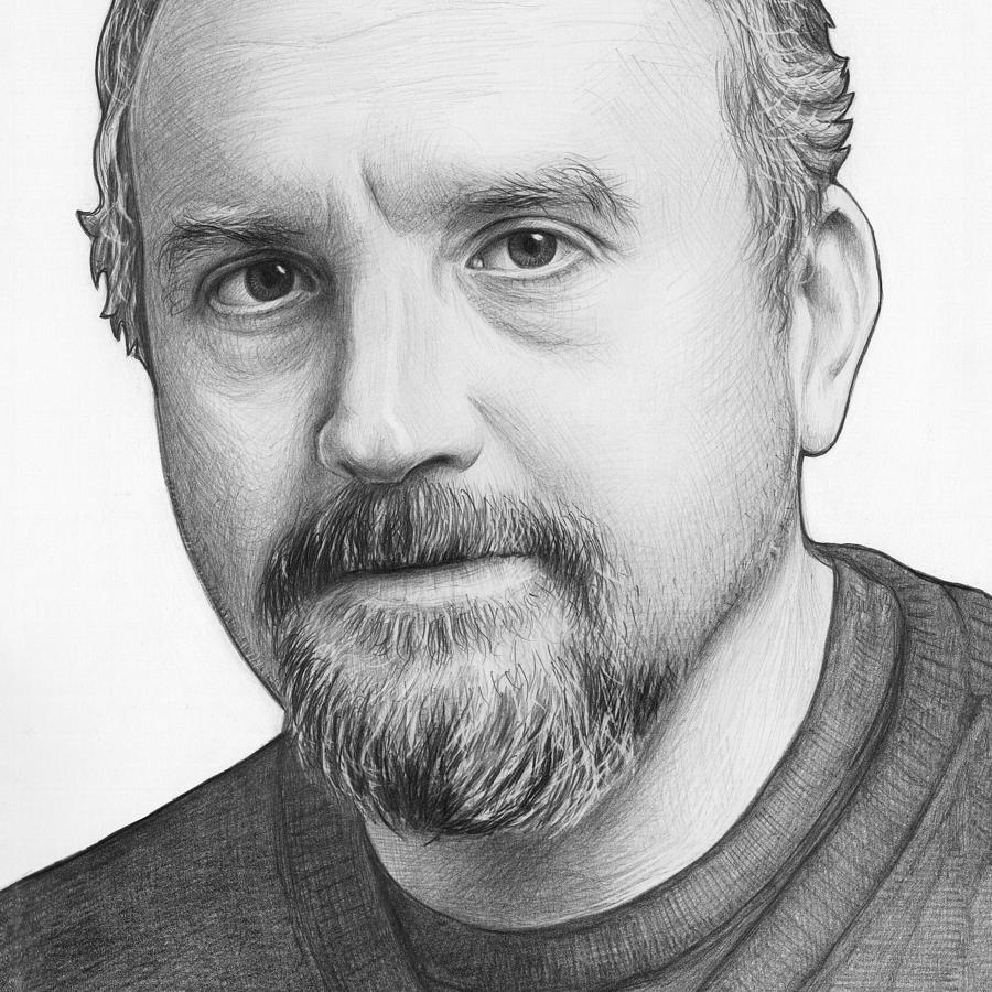 Louie Ck Drawing - Louis Ck Portrait by Olga Shvartsur