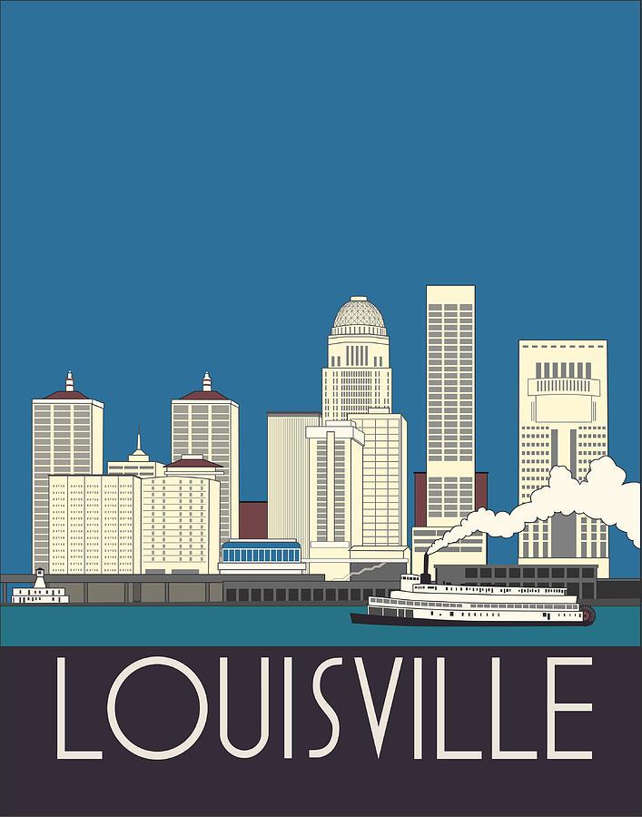 Louisville Digital Art - Louisville Art Deco Skyline by Josef Spalenka