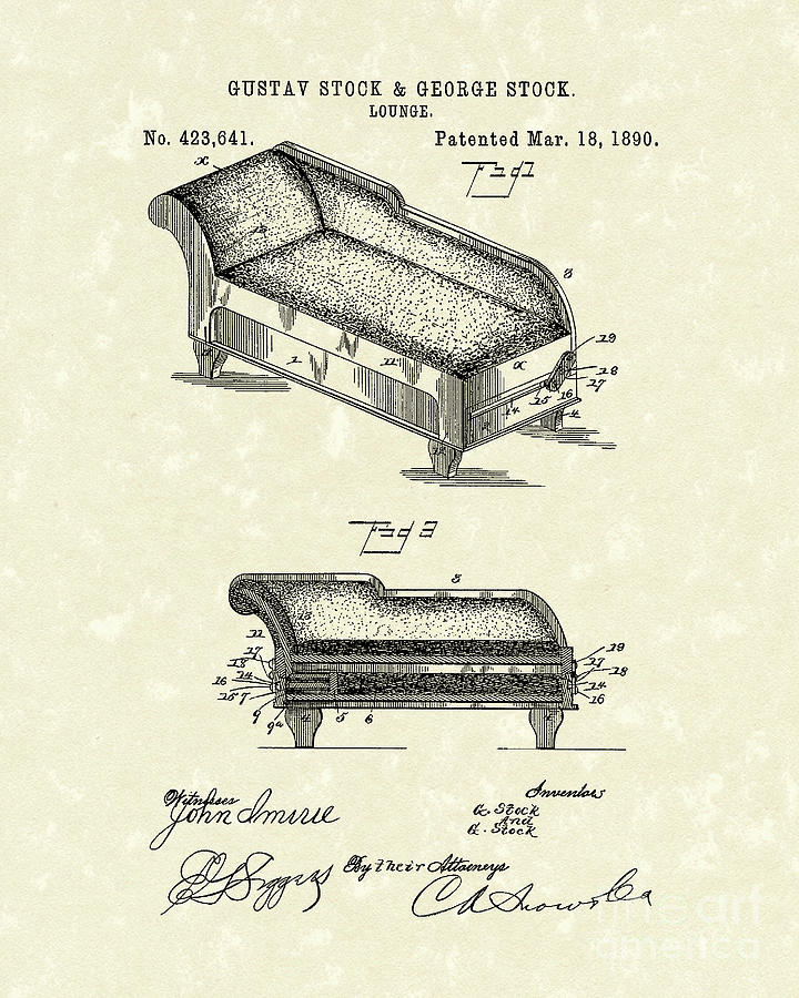 Stock Drawing - Lounge 1890 Patent Art by Prior Art Design