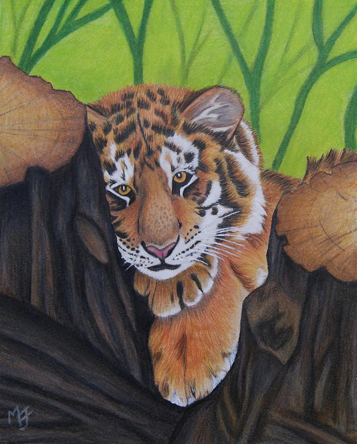 Tiger Painting - Lounging Tiger Cub by Melanie Feltham