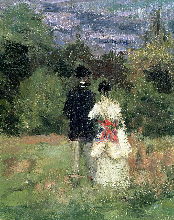 Landscape Painting - Louveciennes, Detail Of Lovers by Camille Pissarro