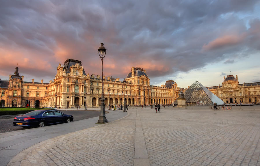 Arch Photograph - Louvre Museum At Sunset by Ioan Panaite