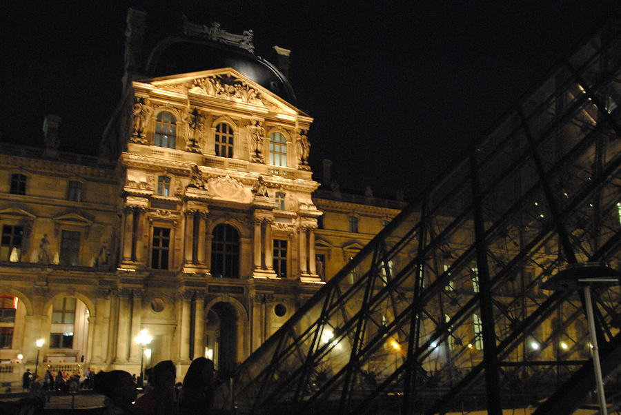 Louvre Photograph - Louvre With Pyramid - Nite by Jacqueline M Lewis