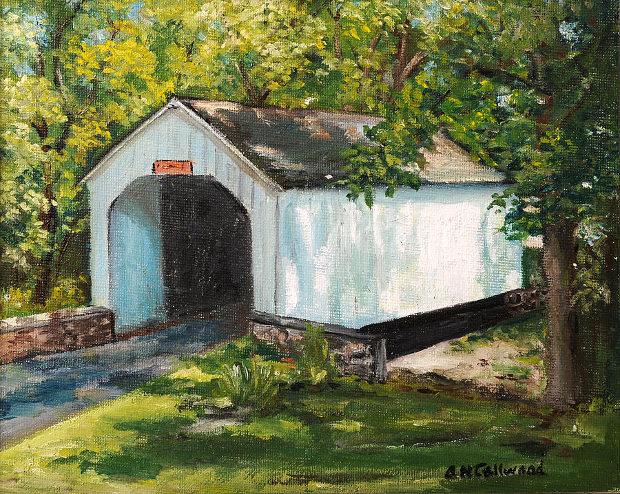 Loux covered bridge bucks county pa painting by aurelia for Craft shows in bucks county pa