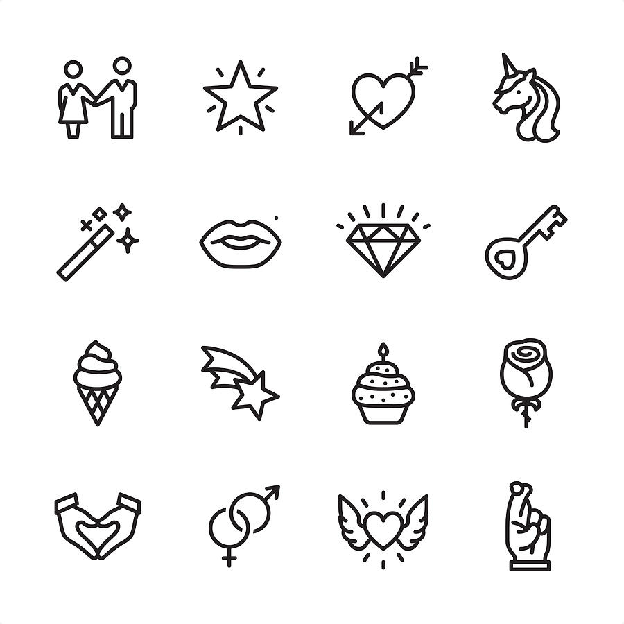 Love & Miracle - outline icon set Drawing by Lushik