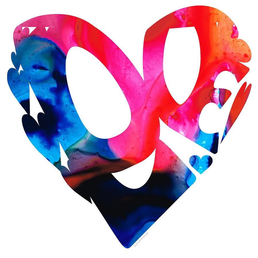 Sharon Cummings Painting - Love 17- Heart Hearts Romantic Art by Sharon Cummings