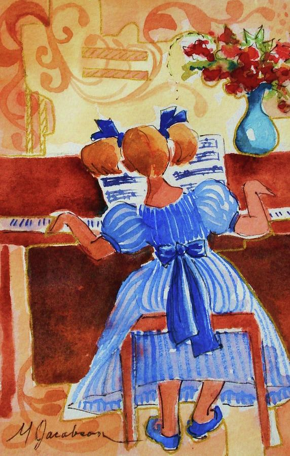 Girl Painting - Love A Piano 3 by Marilyn Jacobson