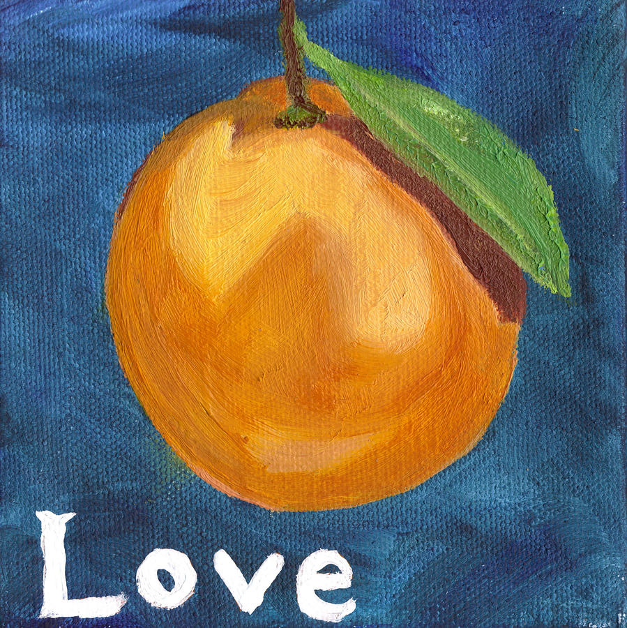 Orange Painting - Love by Amber Joy Eifler